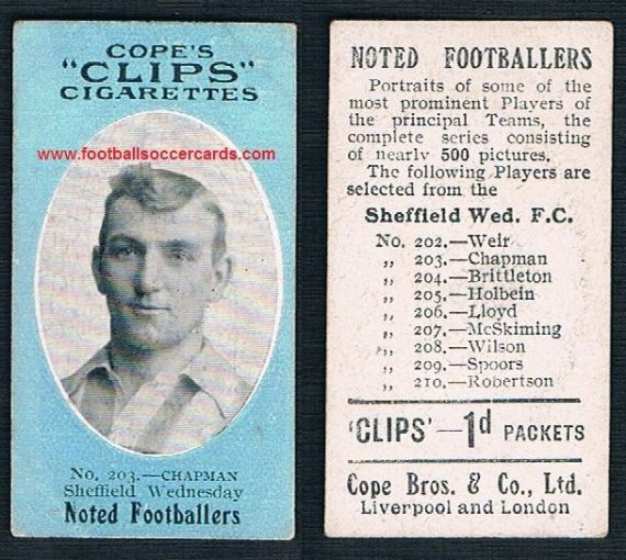 1910 Cope Brothers Noted Footballers 500 series Chapman Sheffield Wednesday 203